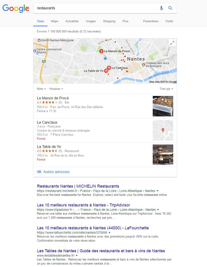 Recherches google géolocalisée à Nantes