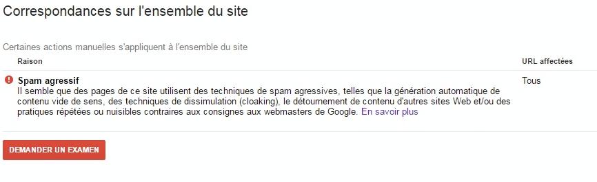Search console Pénalités