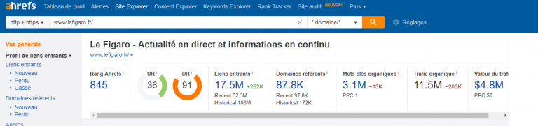 le score domain Rating lien