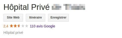 Hopital privé note google