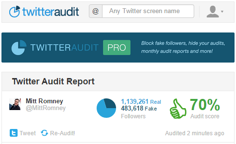 MittRomney s Audit Twitter Audit Audit your Twitter followers.