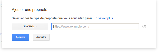 ajouter une propriété dans la Search Console de Google