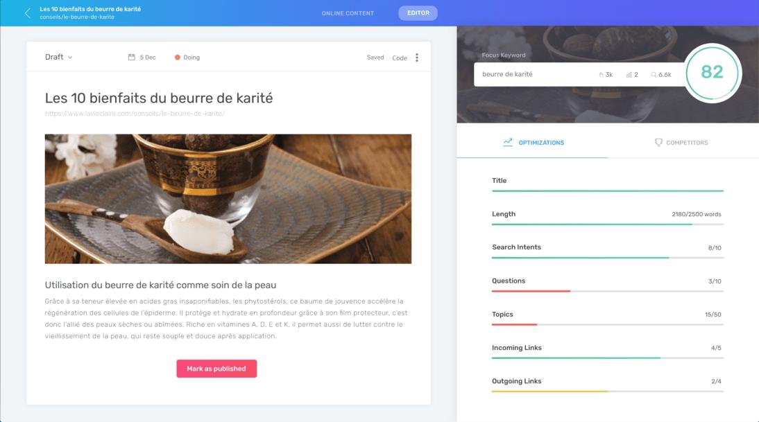 SEO content optimizer screenshot