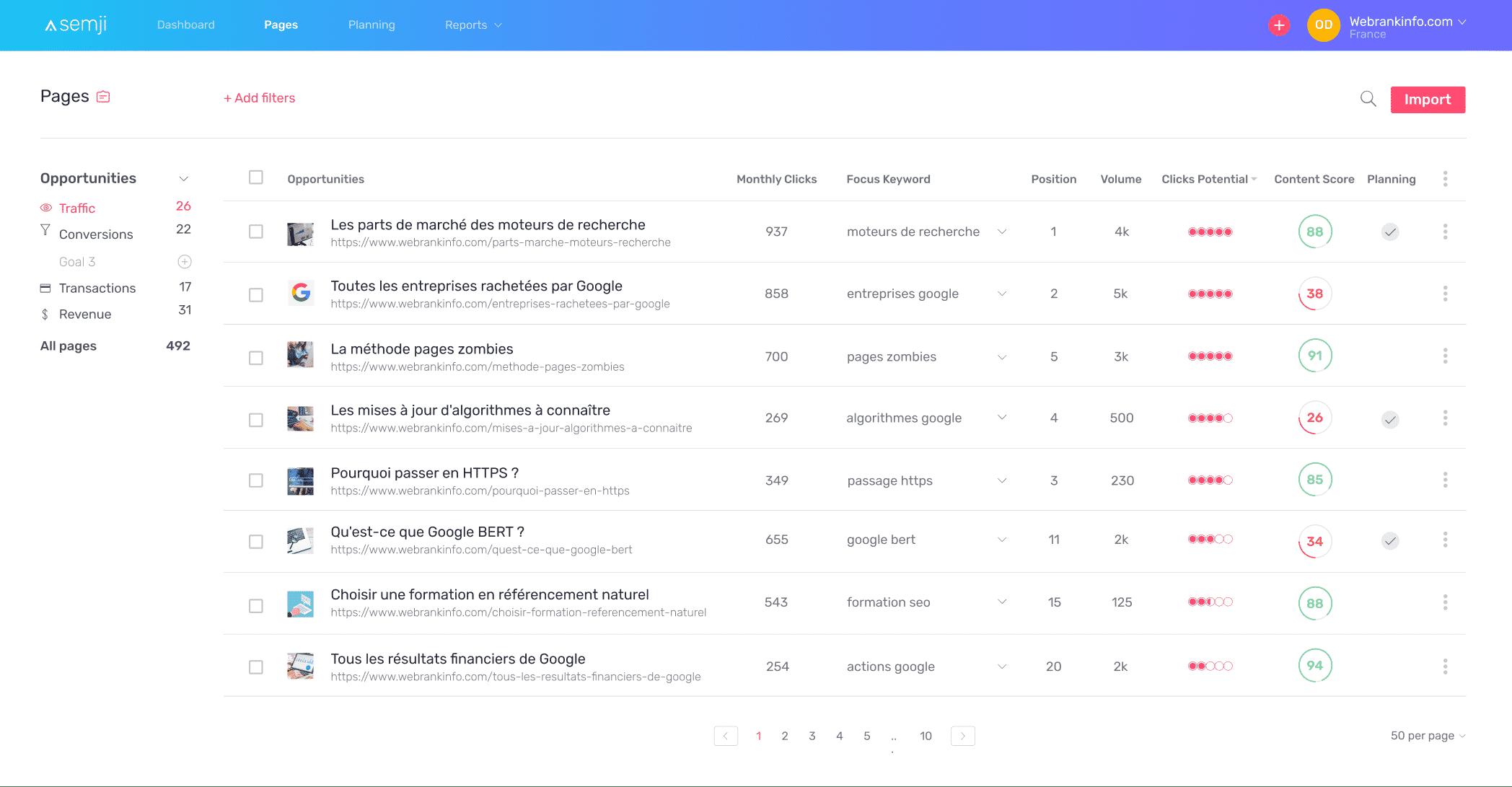 Ecran Pages Semji Platform