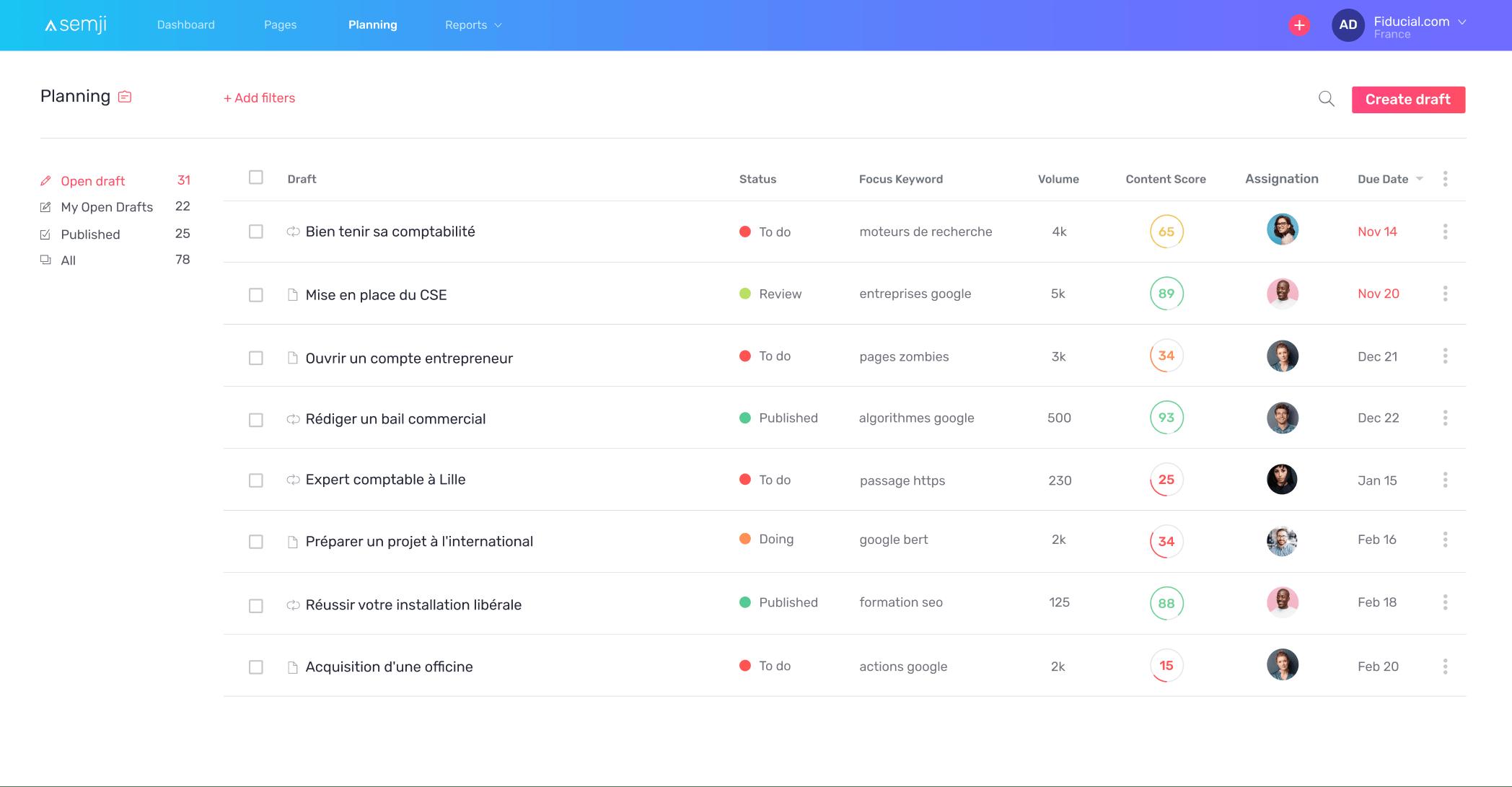 Ecran Planning Semji Platform